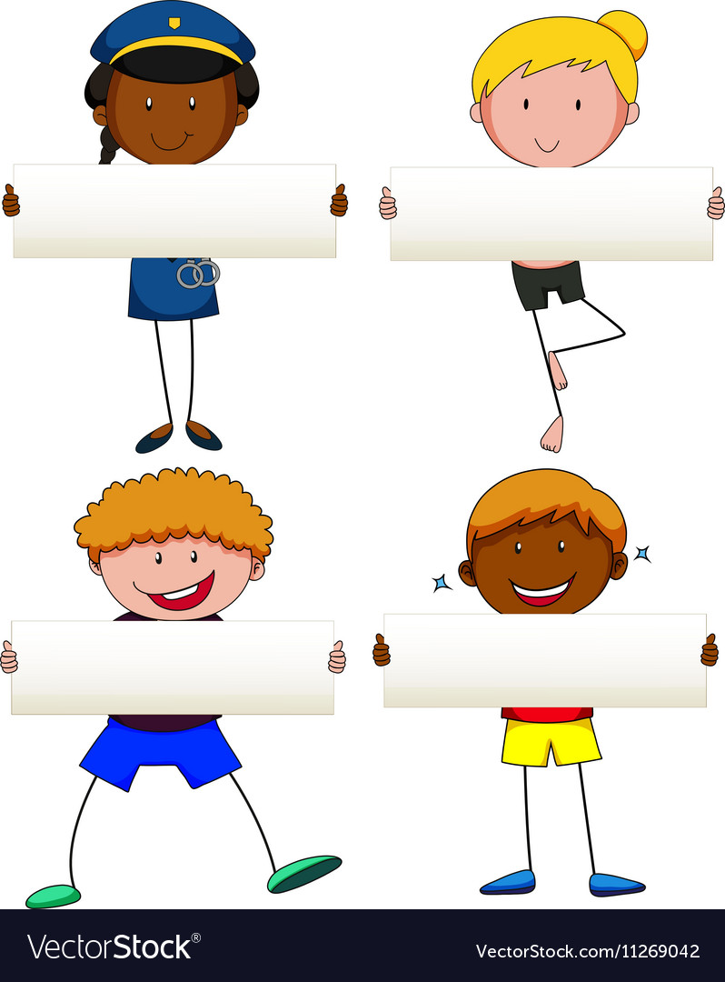 People holding blank banner vector image