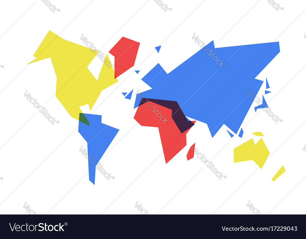 Colorful World Map Abstract Geometry Royalty Free Vector - Colorful world map