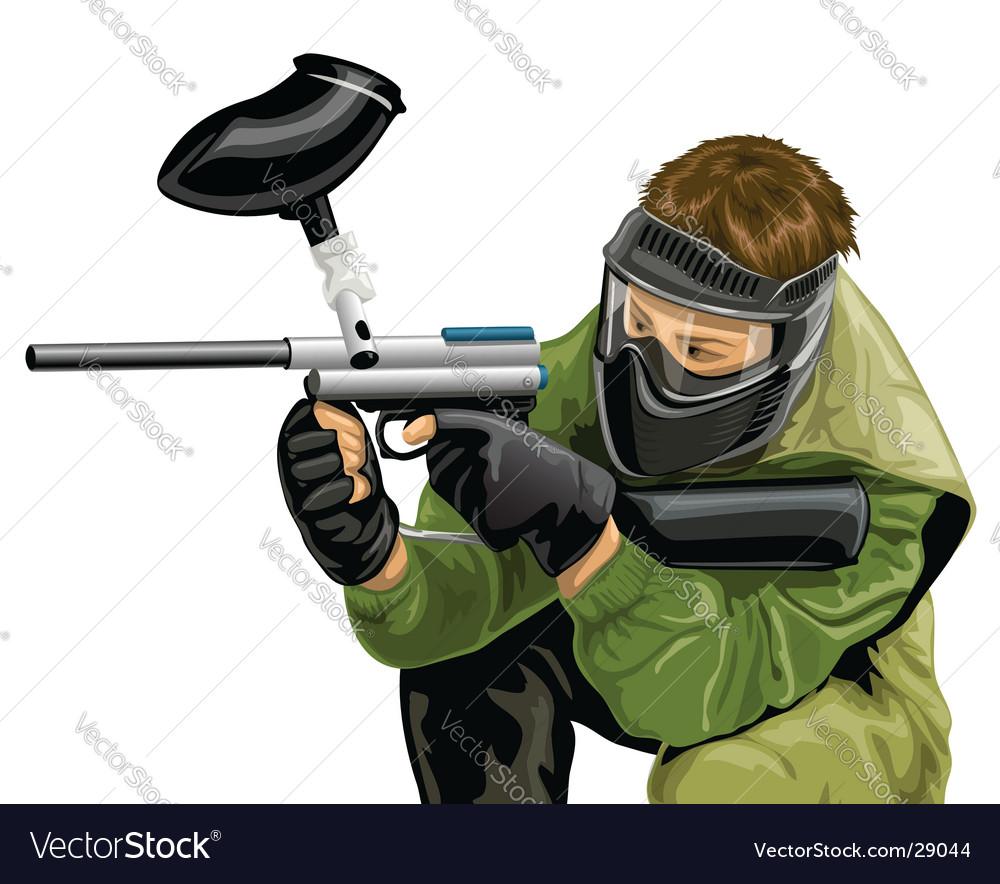 Paintball game player shooting vector image