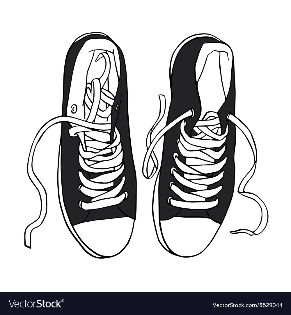 Black sports sneakers with white laces vector image