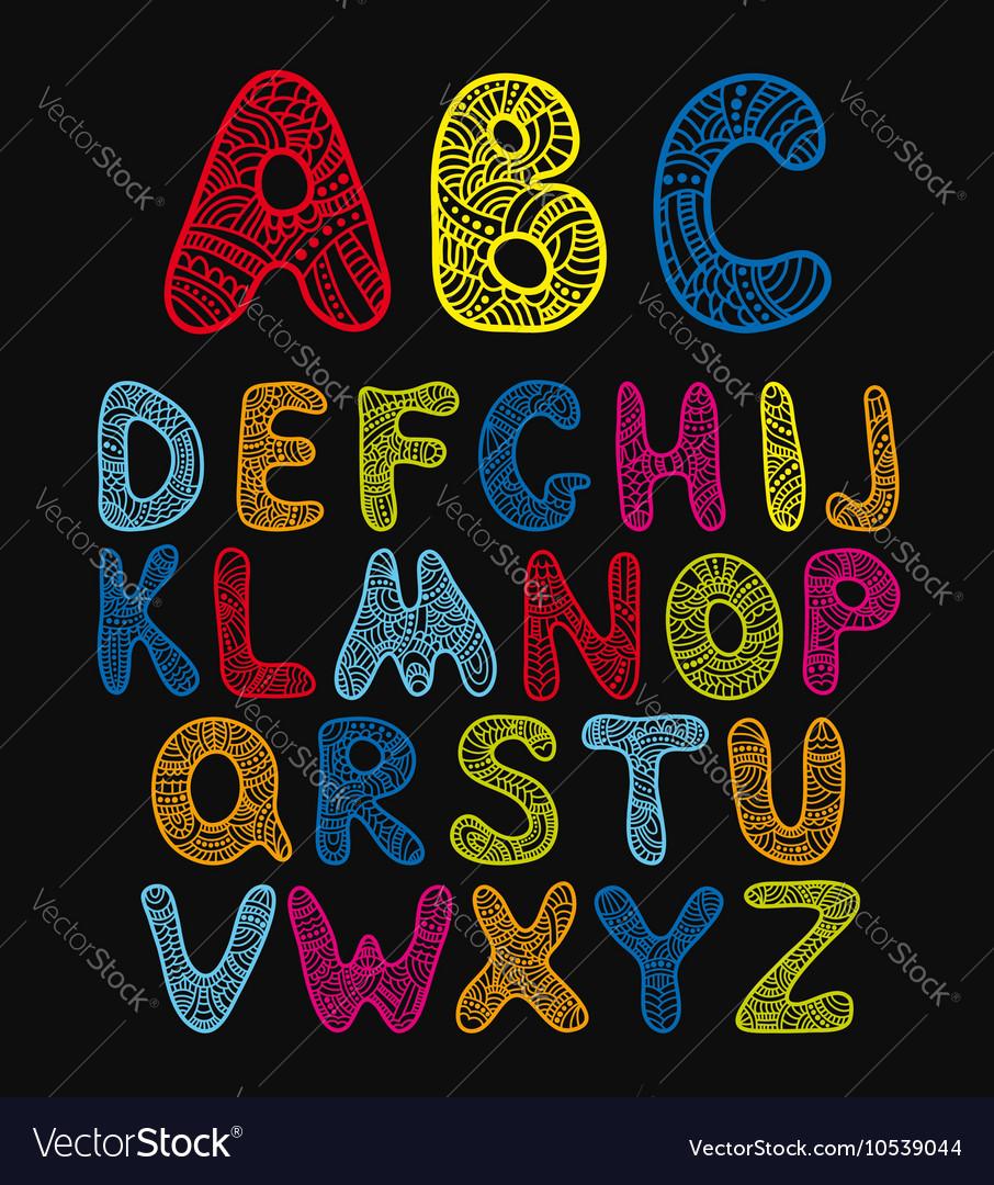 Doodle hand drawn color alphabet vector image