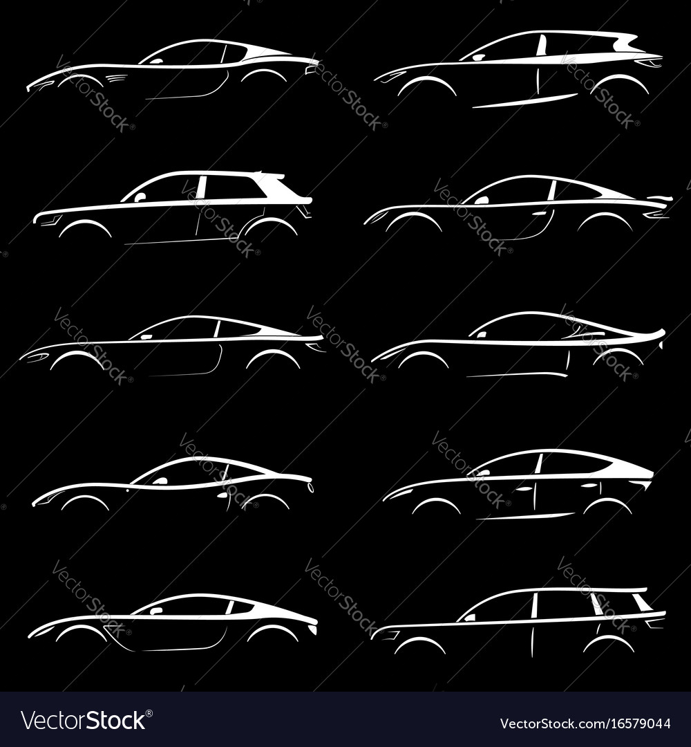White cars silhouettes vector image