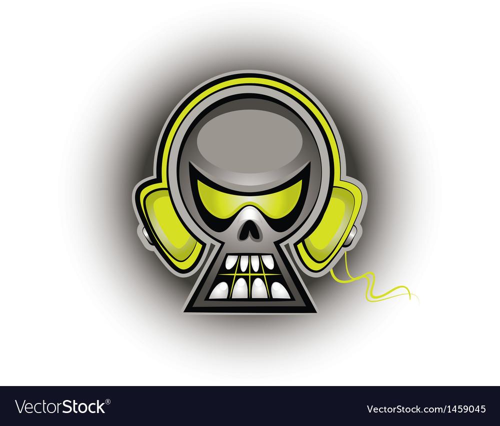 Music skull vector image