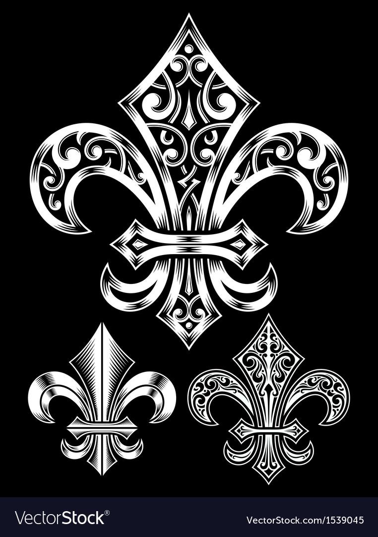 Ornate Fleur De Lis Set vector image