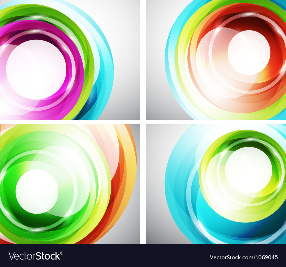 Colorful abstract swirl background set vector image