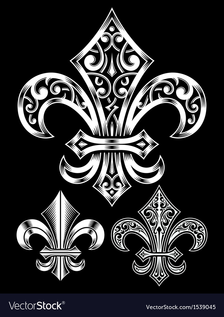 Ornate Fleur De Lis Set Royalty Free Vector Image