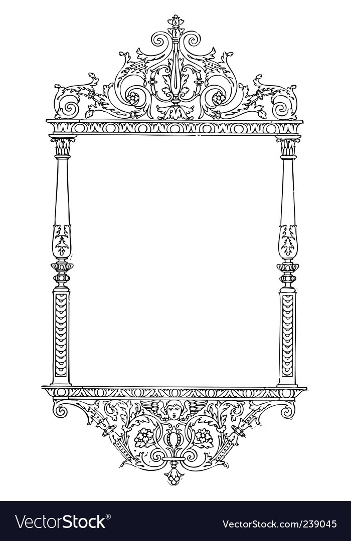 Ornate tall furniture frame vector image