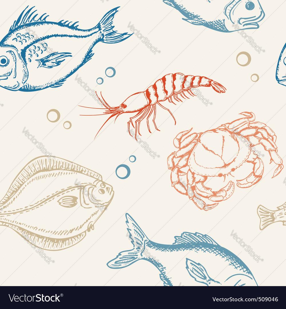 Seamless fish pattern vector image