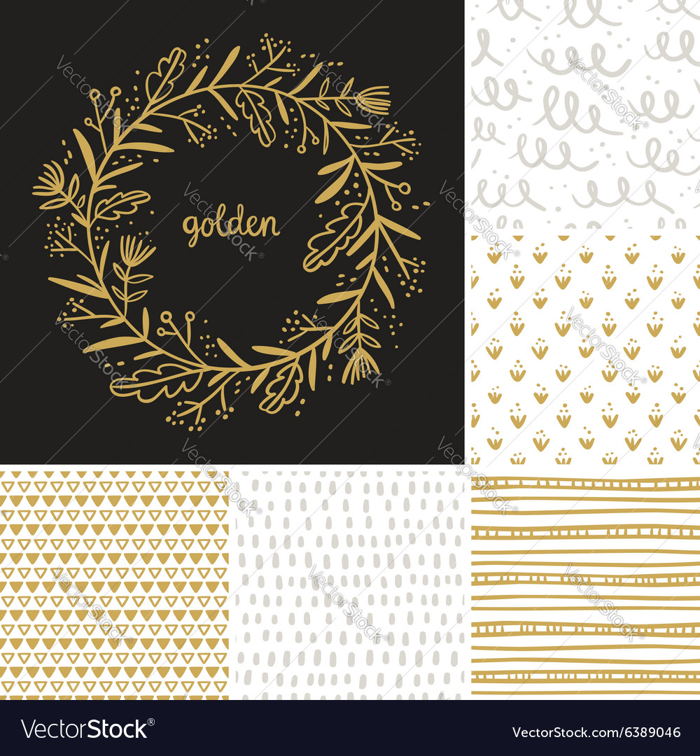 Golden floral wreath and seamless patterns vector image