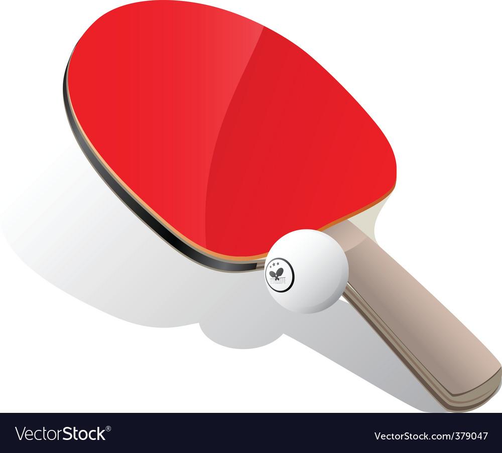 Ping-Pong paddle and ball vector image