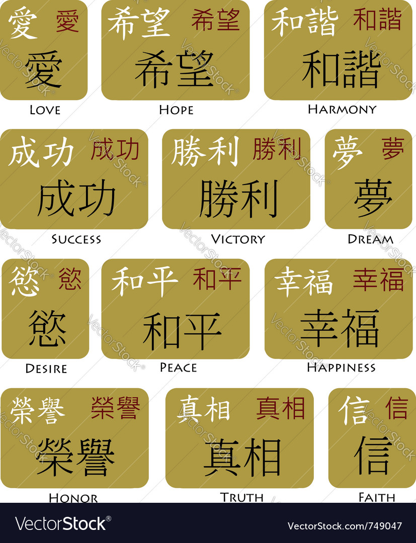 Japanese kanji chinese symbols vector image