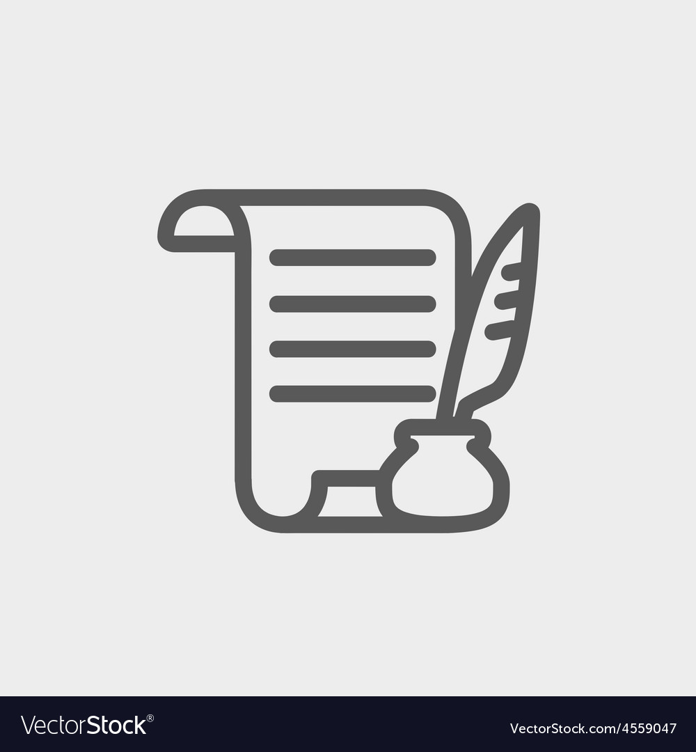 Paper scroll with feather pen thin line icon vector image