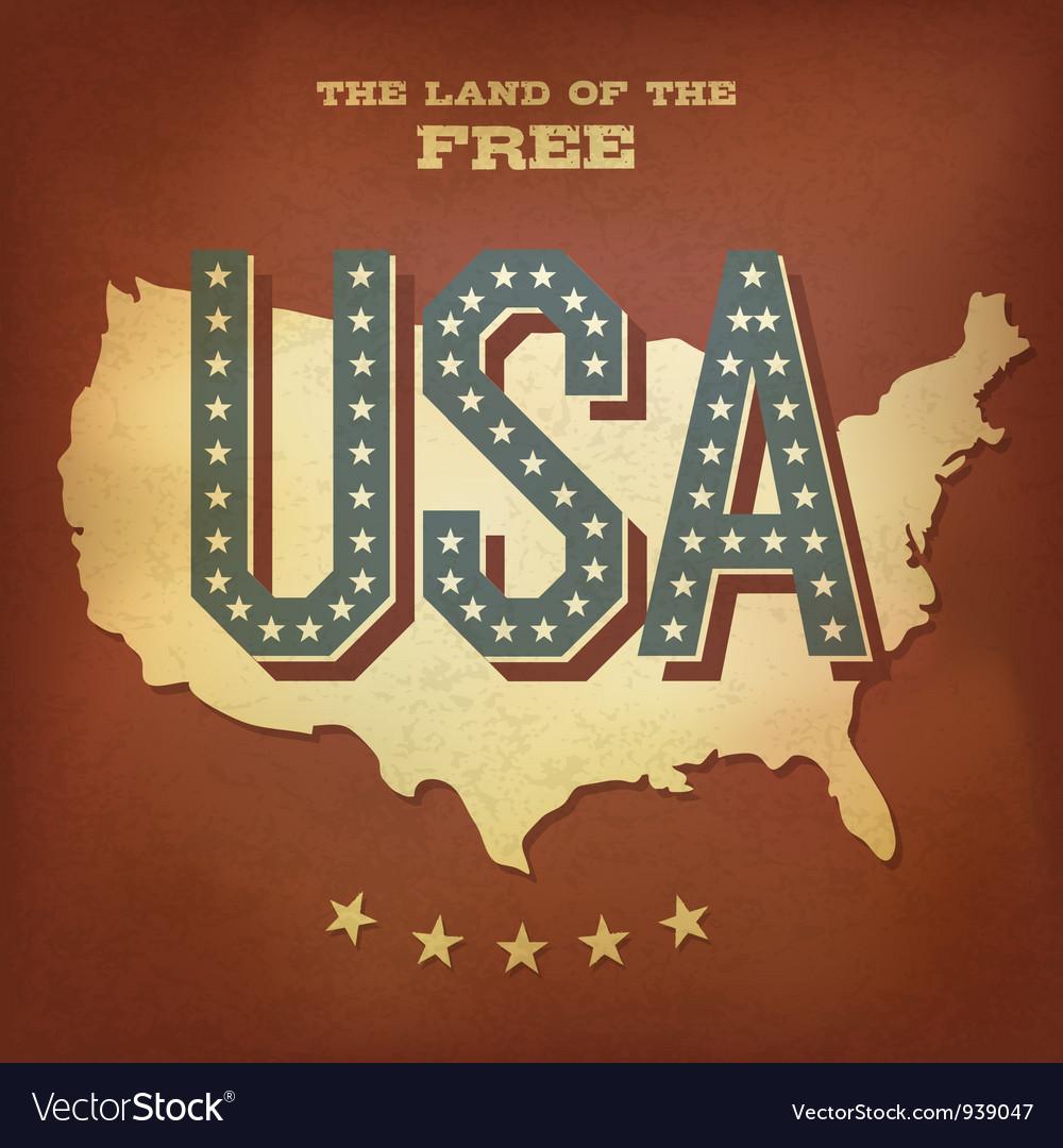 USA abstract retro poster design copy vector image