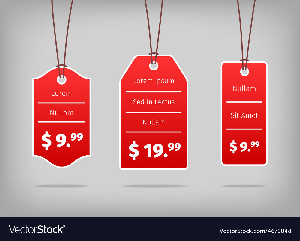 Red hanging pricing tags or labels with white vector image