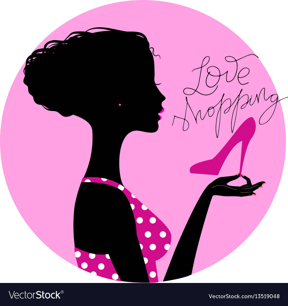 Silhouette of shopaholic girl vector image