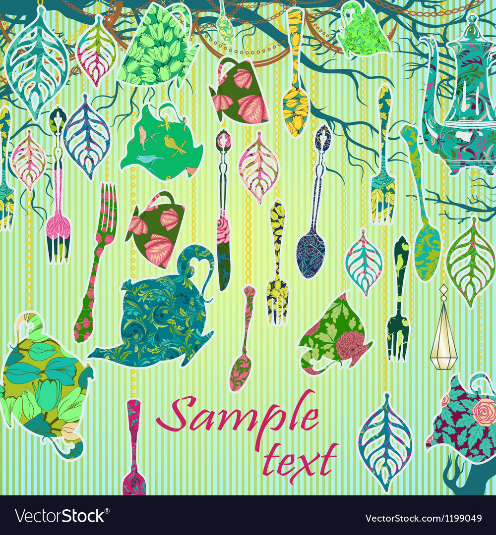 Scrapbooking Background With Tea Party Theme Vector Image
