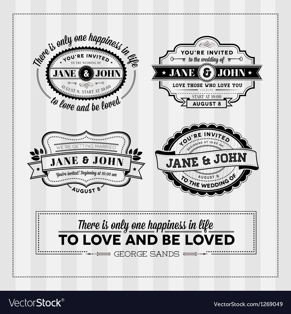 Wedding typography stamps vector image