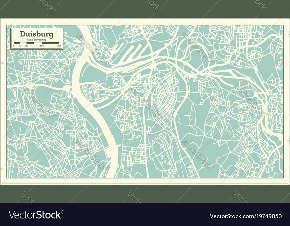 Duisburg germany city map in retro style outline Vector Image