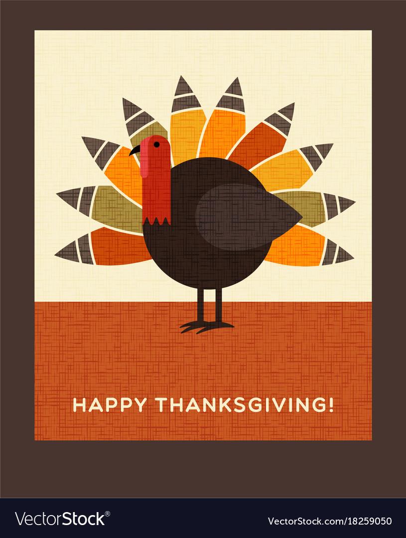 Happy thanksgiving turkey card vector image