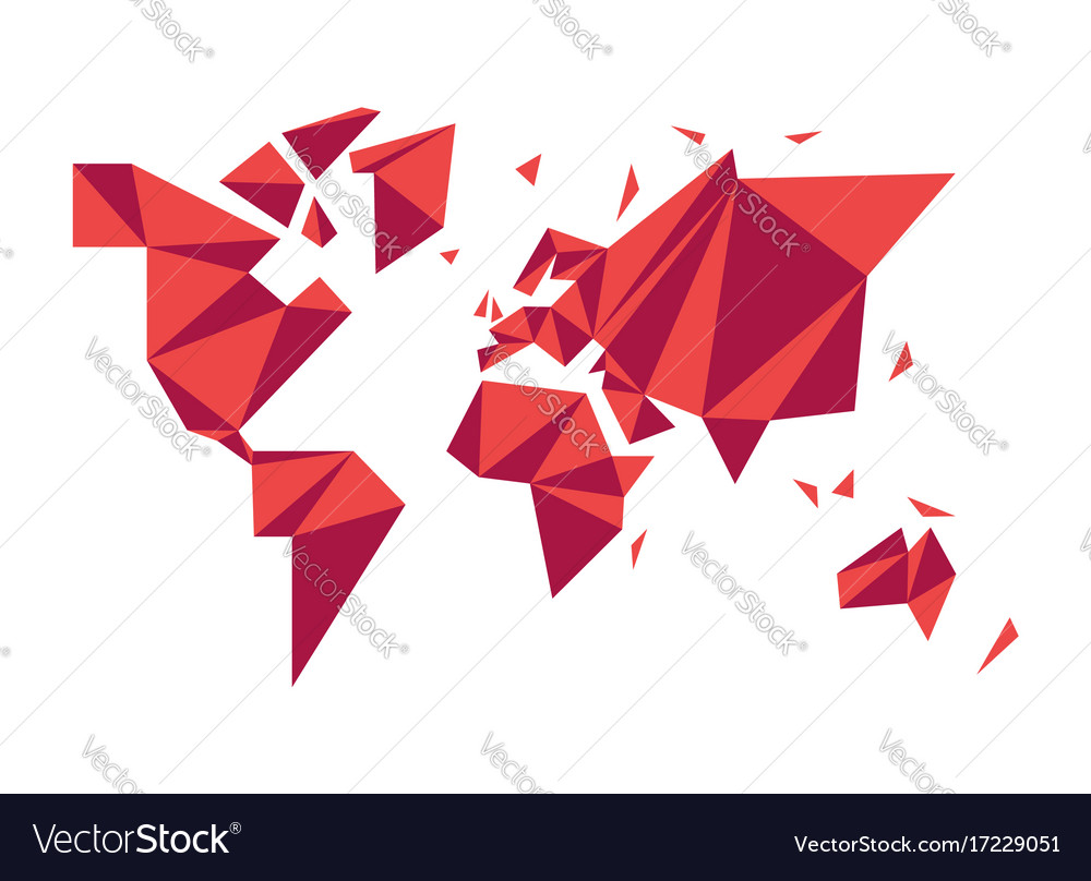 Abstract Low Poly World Map Modern Concept Shape Vector Image - World map shape