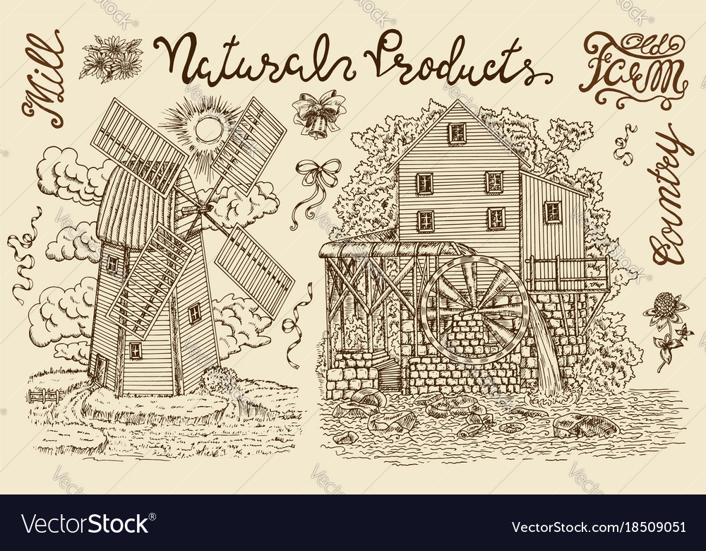 Vintage collection with old mills and lettering vector image