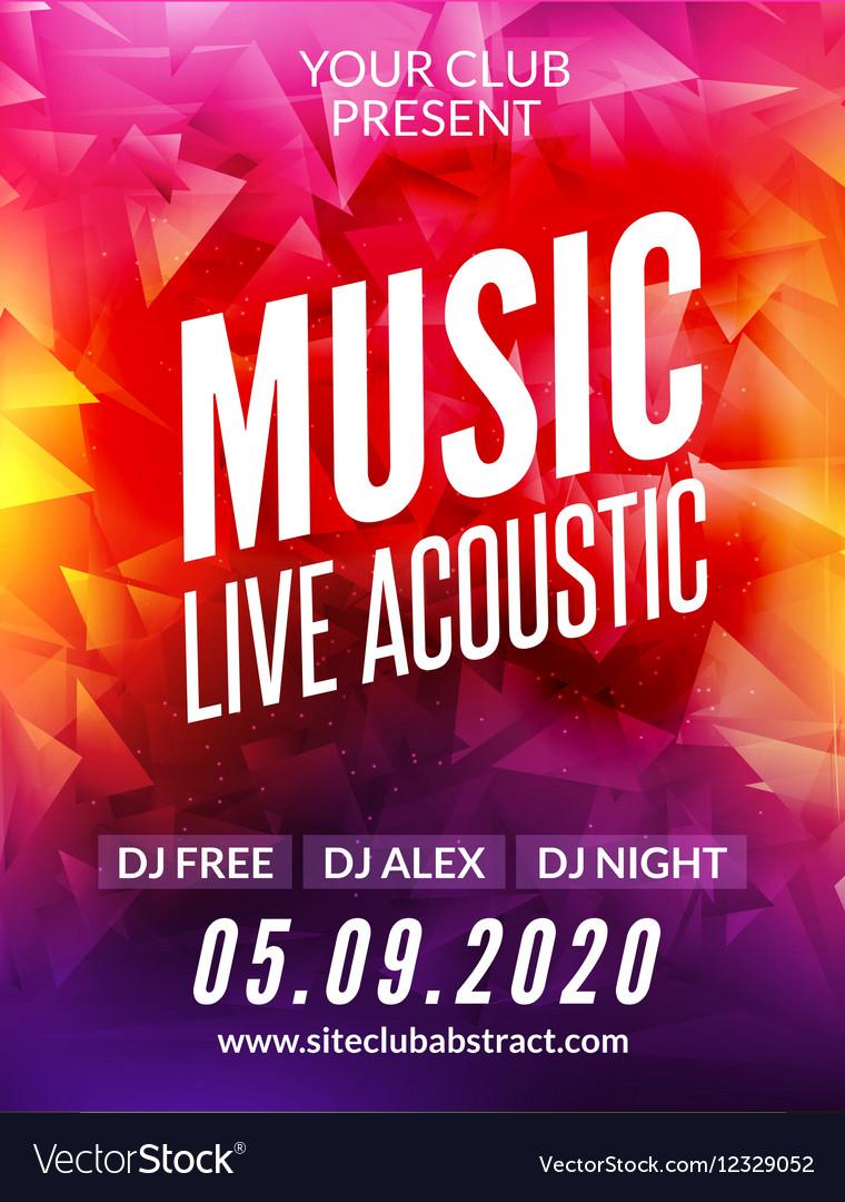 Live music acoustic poster design temple Live show vector image