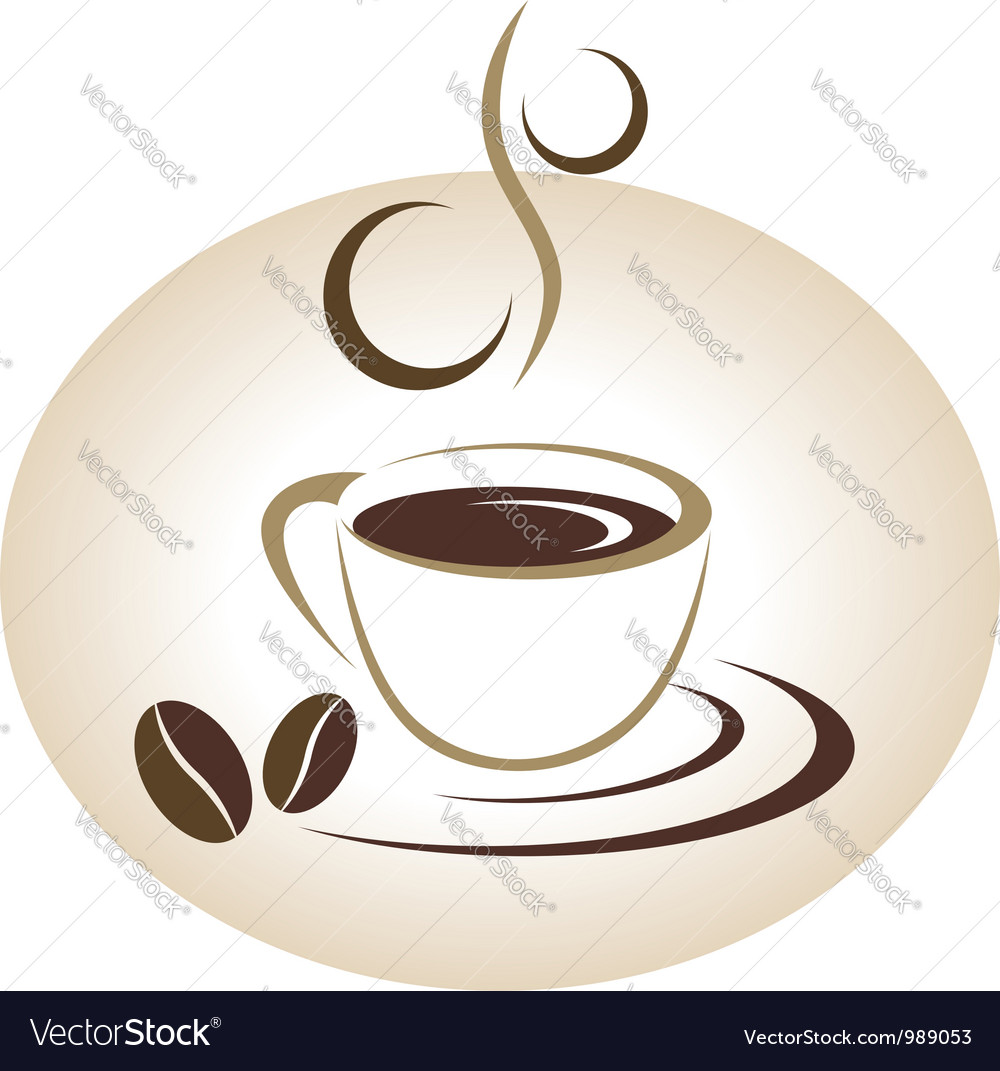 Coffee cup emblem vector image