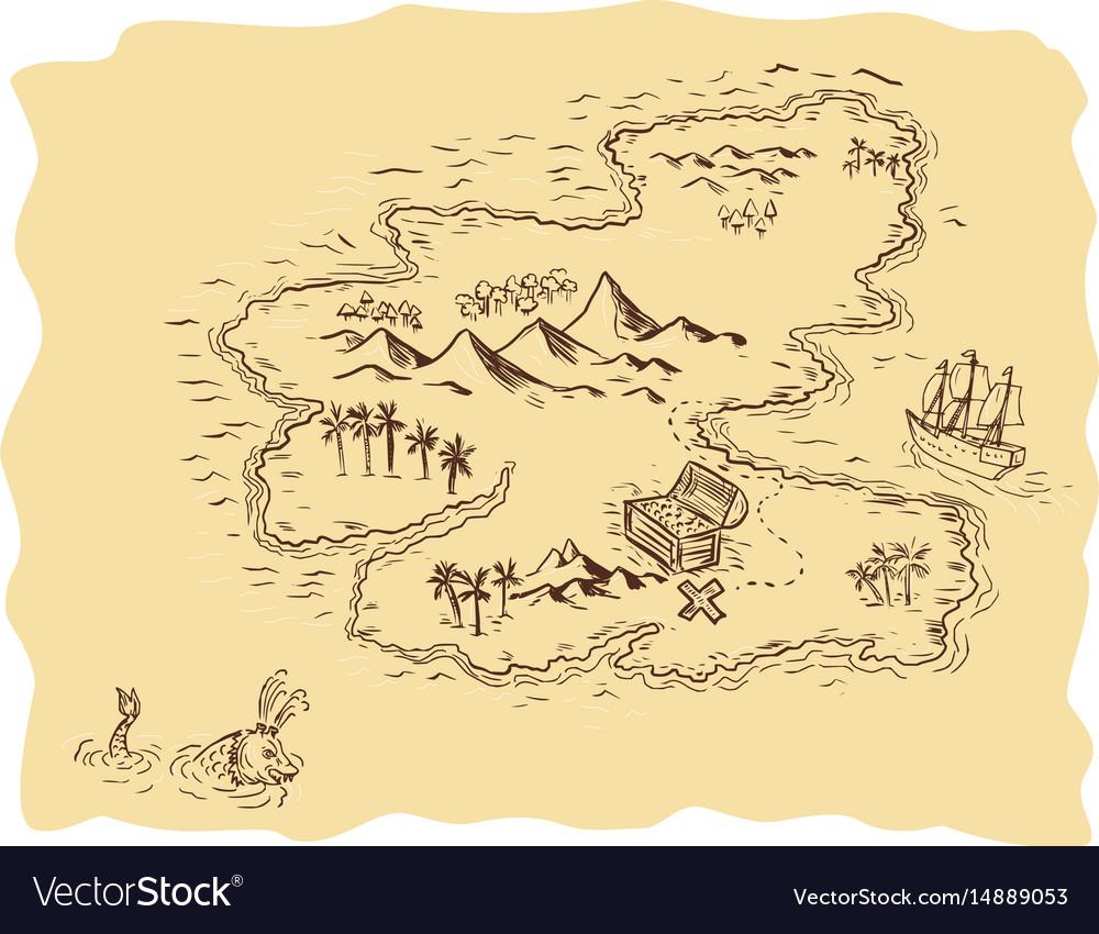 Pirate treasure map sailing ship drawing vector image