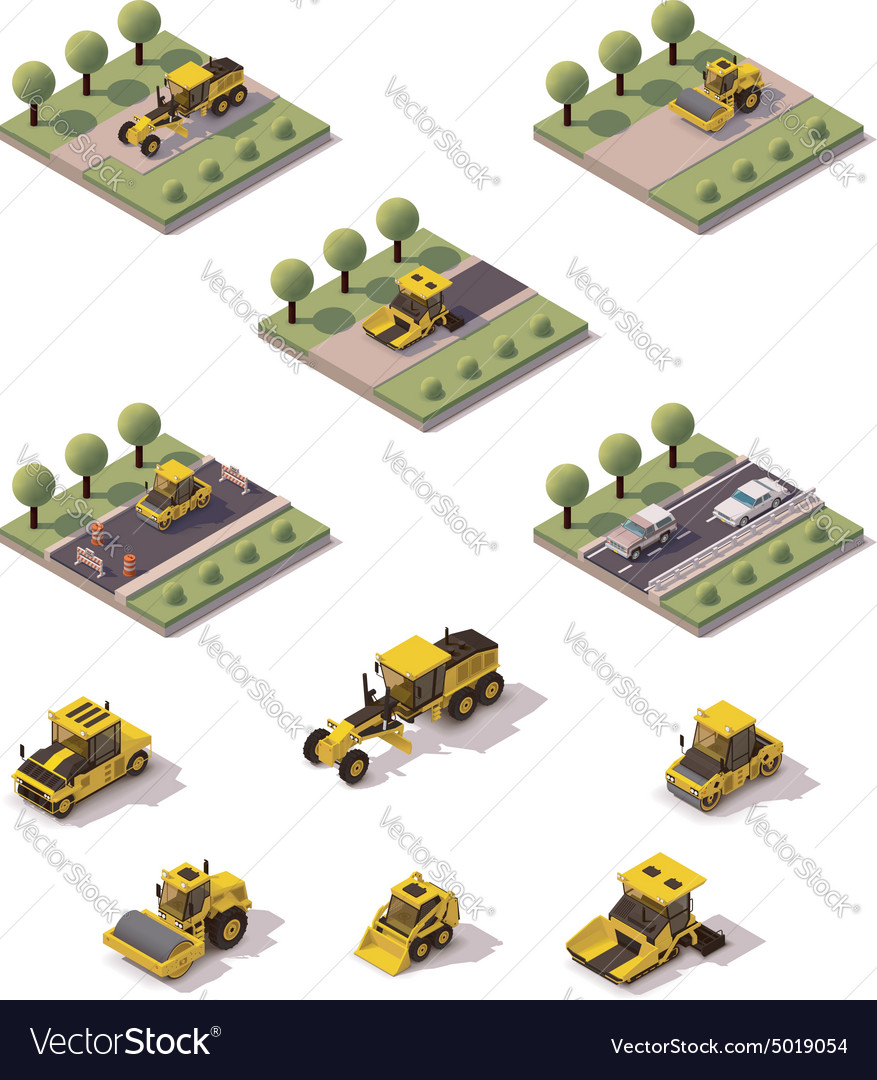 Isometric road surface making technology vector image