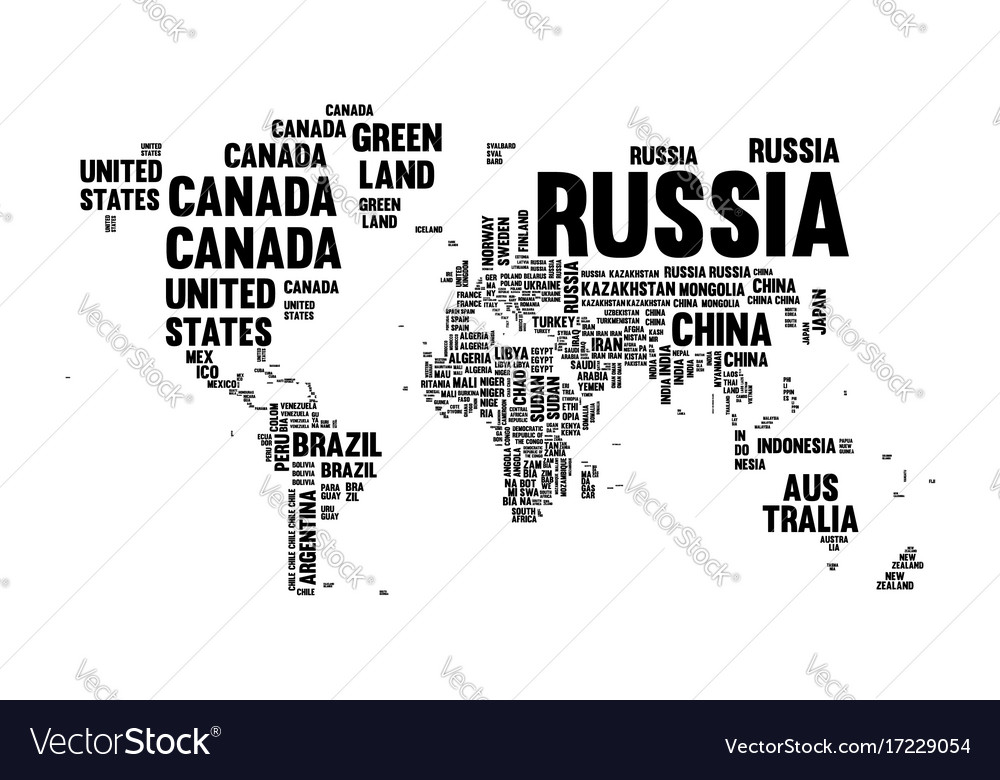 Text country name world map typography design vector image text country name world map typography design vector image gumiabroncs Gallery