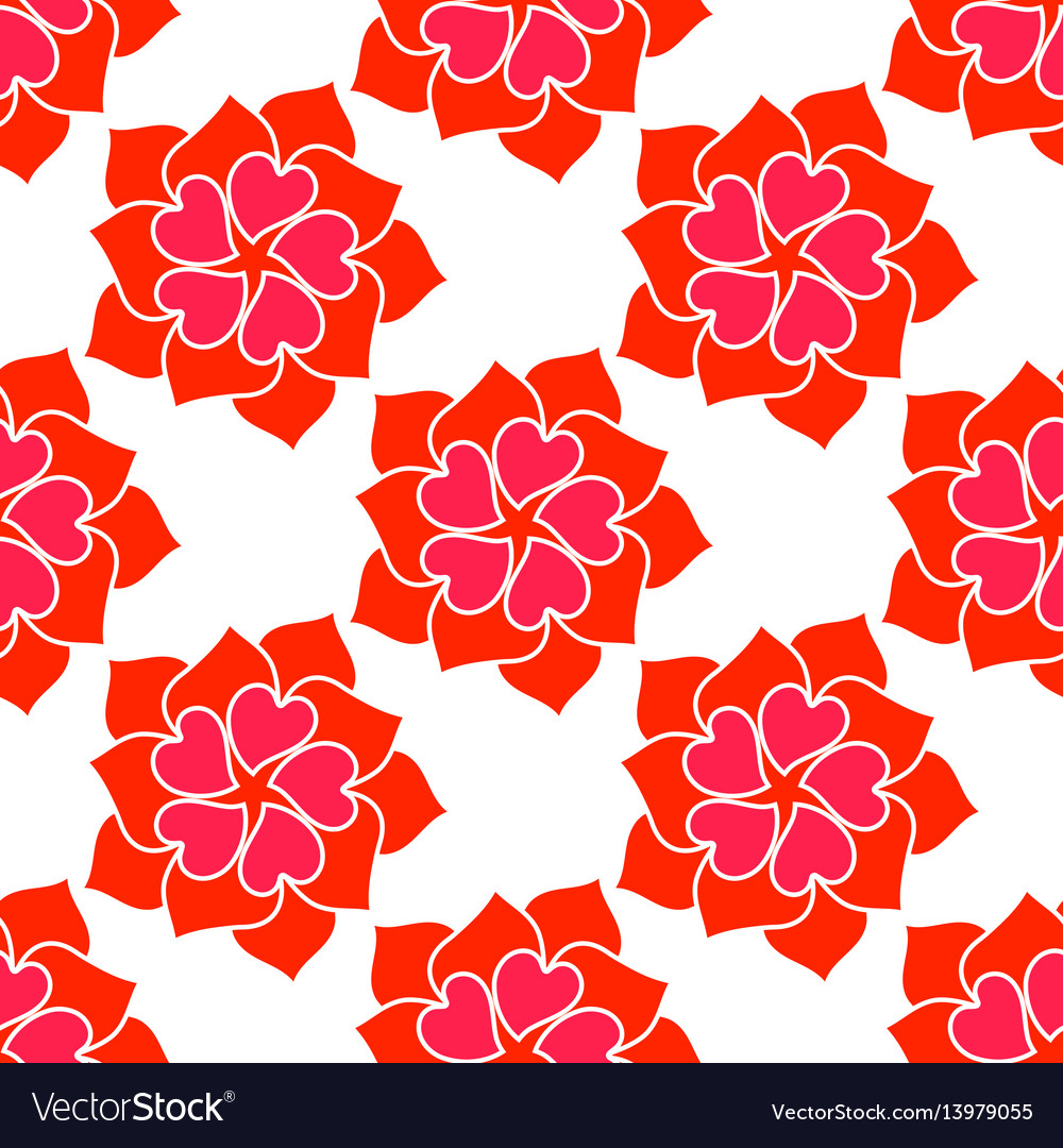 Flower from red heart seamless pattern vector image