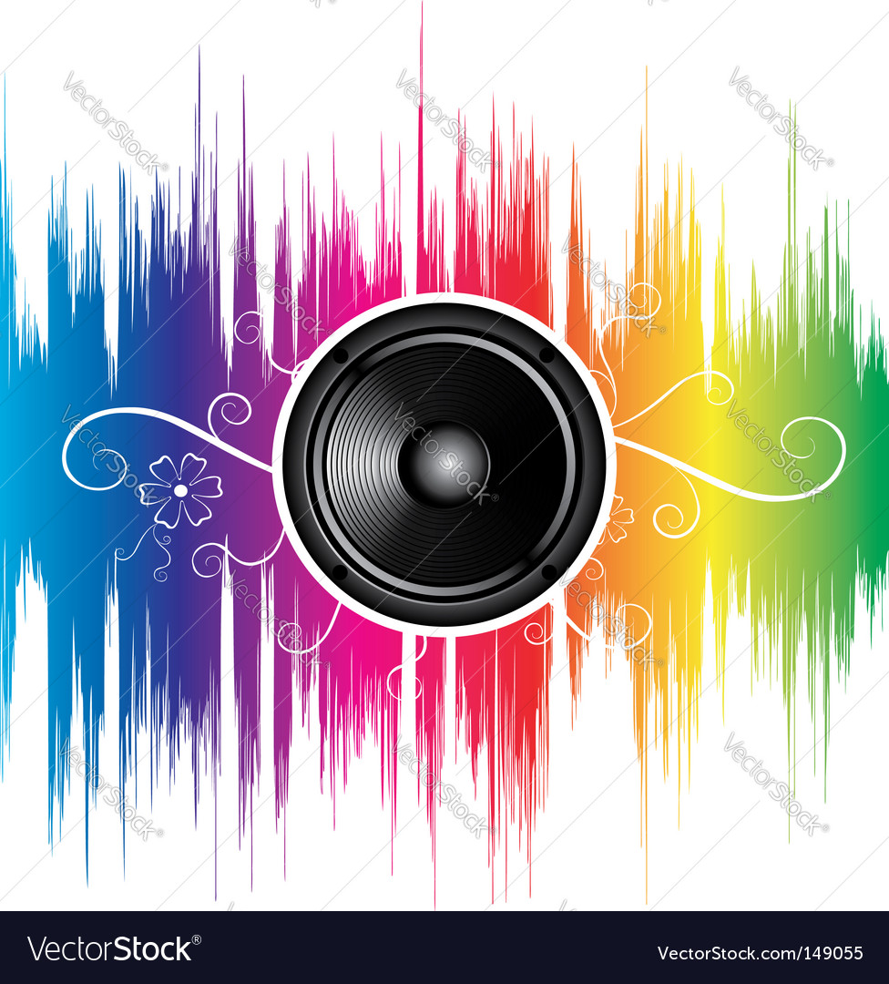 Speaker with floral ornament vector image
