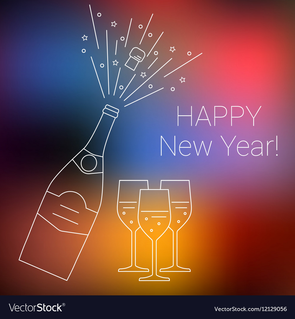 Bottle of champagne explosion and glasses vector image