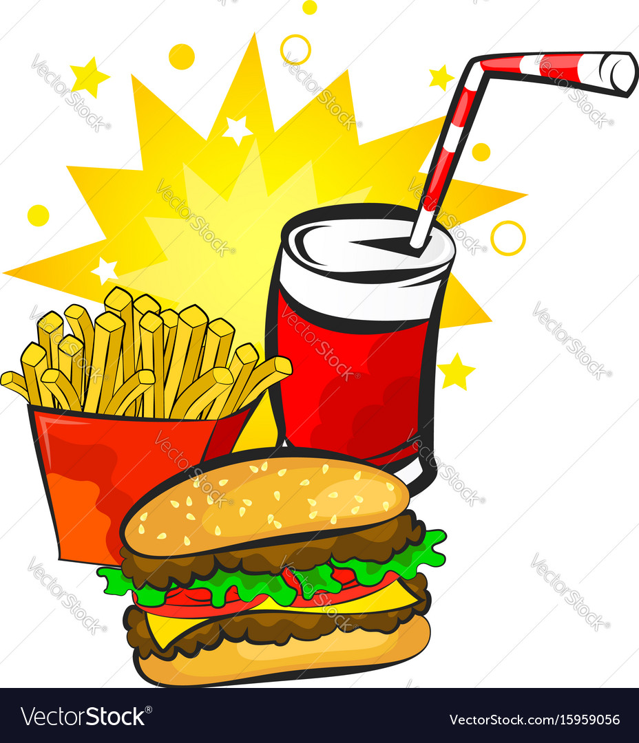 Burger potatoes and drink vector image