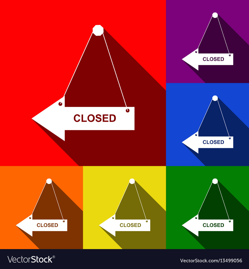 Closed sign set of icons vector image