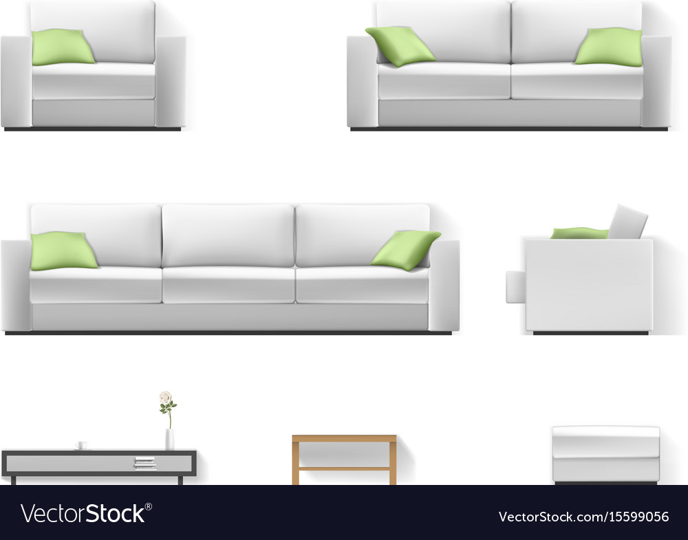 White sofa with green pillow vector image