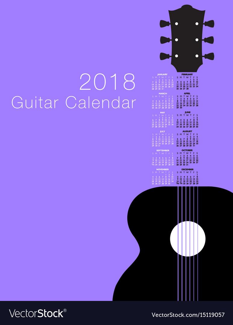 2018 guitar musical calendar vector image