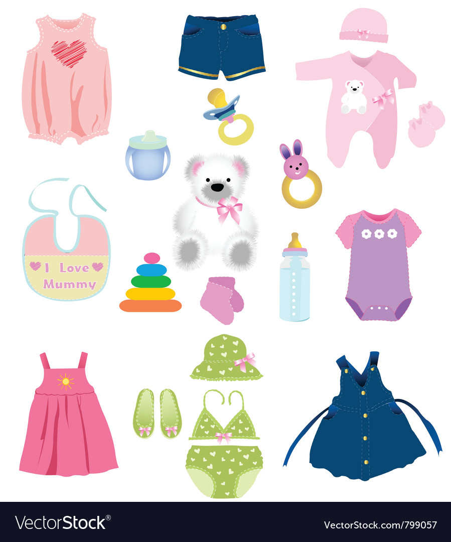 Baby girl elements vector image
