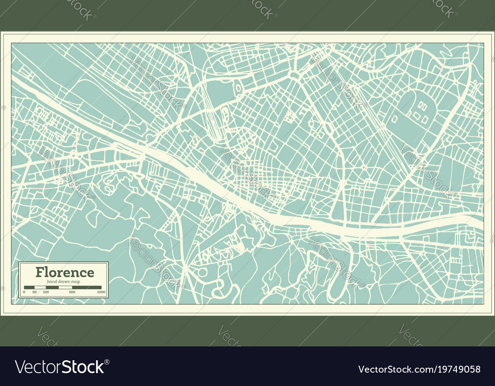 Florence italy city map in retro style outline map florence italy city map in retro style outline map vector image altavistaventures Image collections