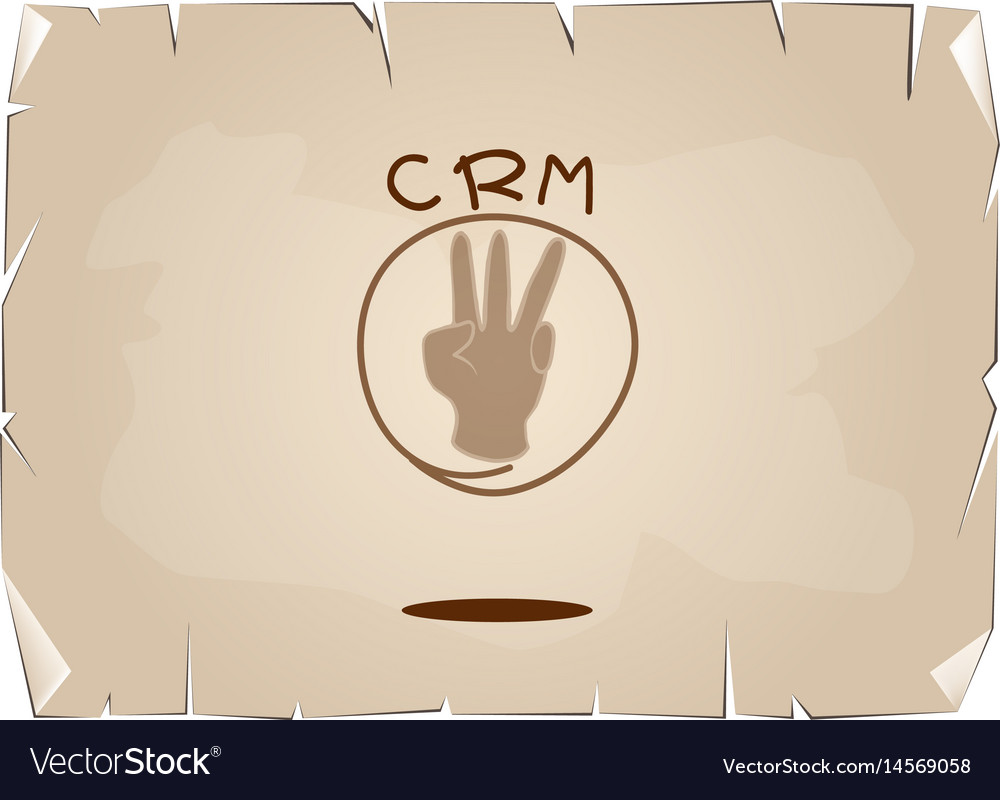 Hand sign with crm or customer relationship manage vector image