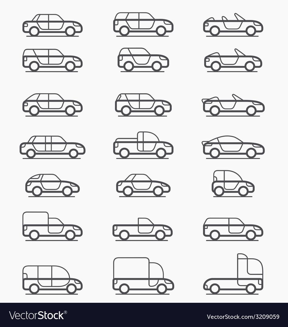 Car body types icons Royalty Free Vector Image - VectorStock