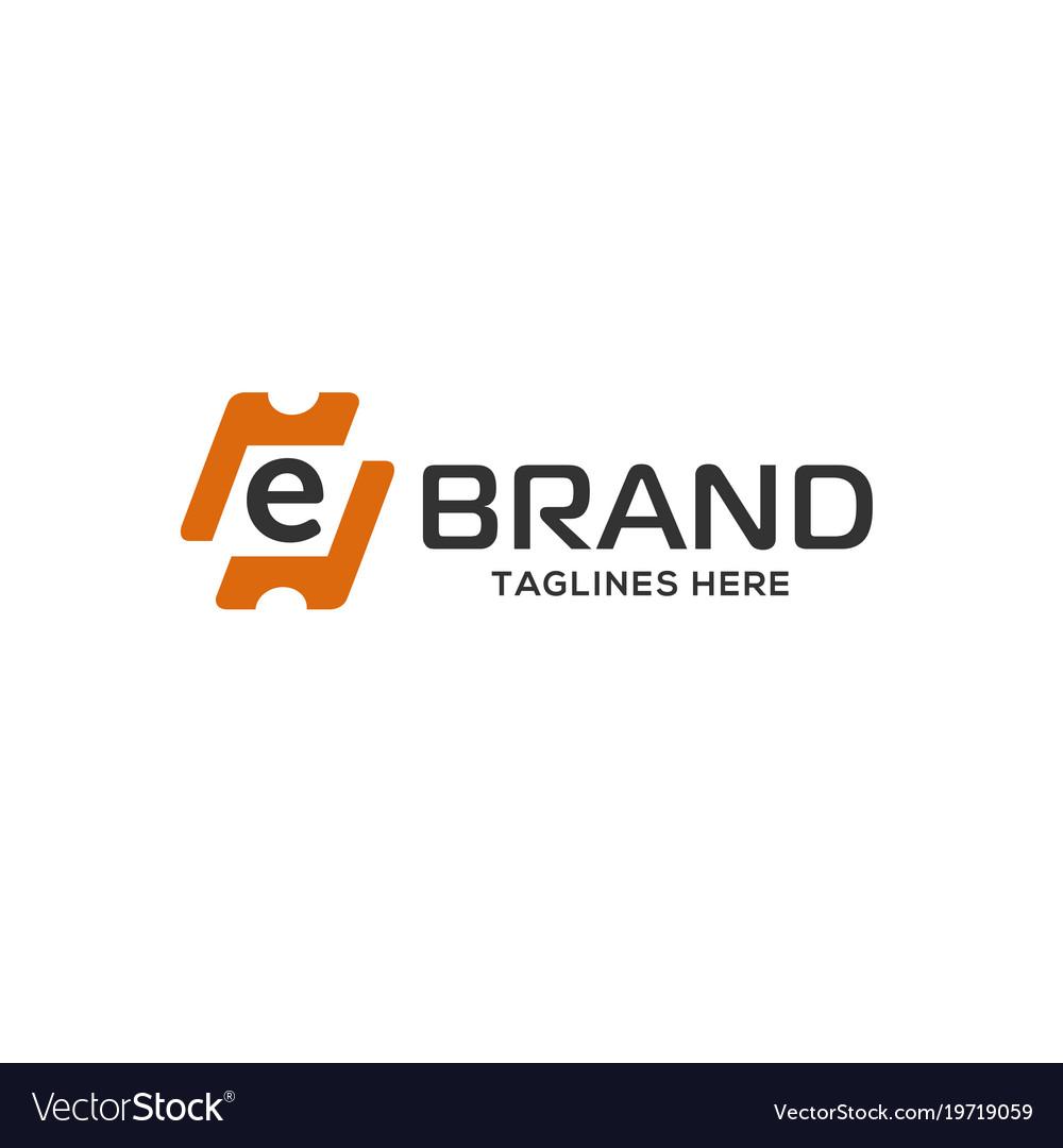 Letter e logo design as a ticket vector image