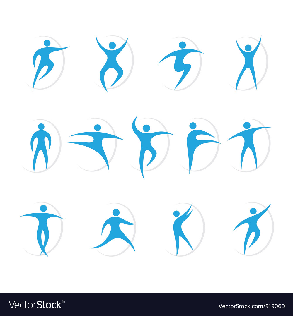 Set of sports and dancing symbols vector image