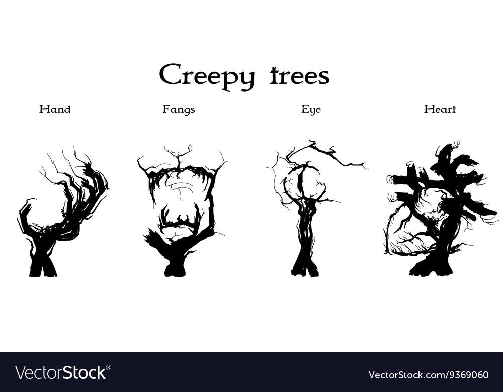 Creepy trees set vector image