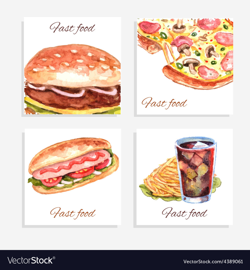 Watercolor Fastfood Cards vector image