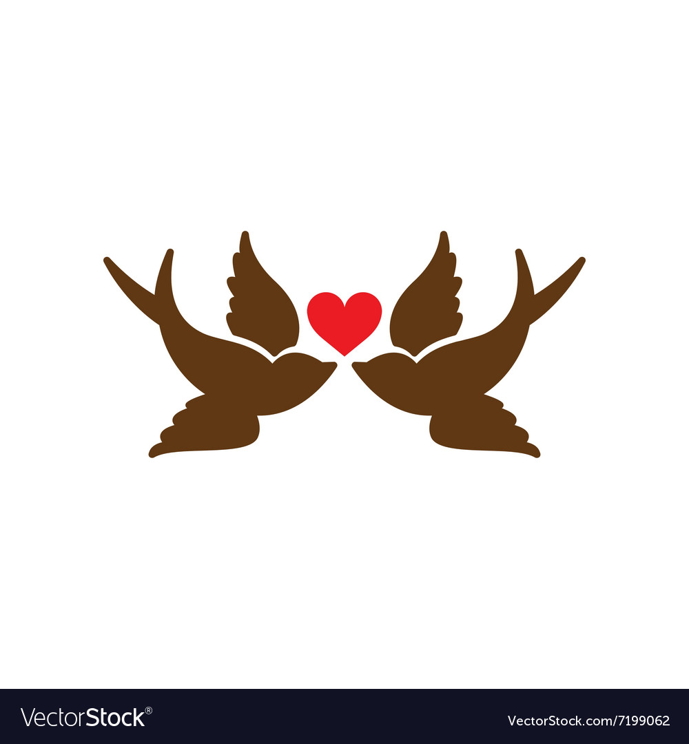Flat web icon on white background birds heart