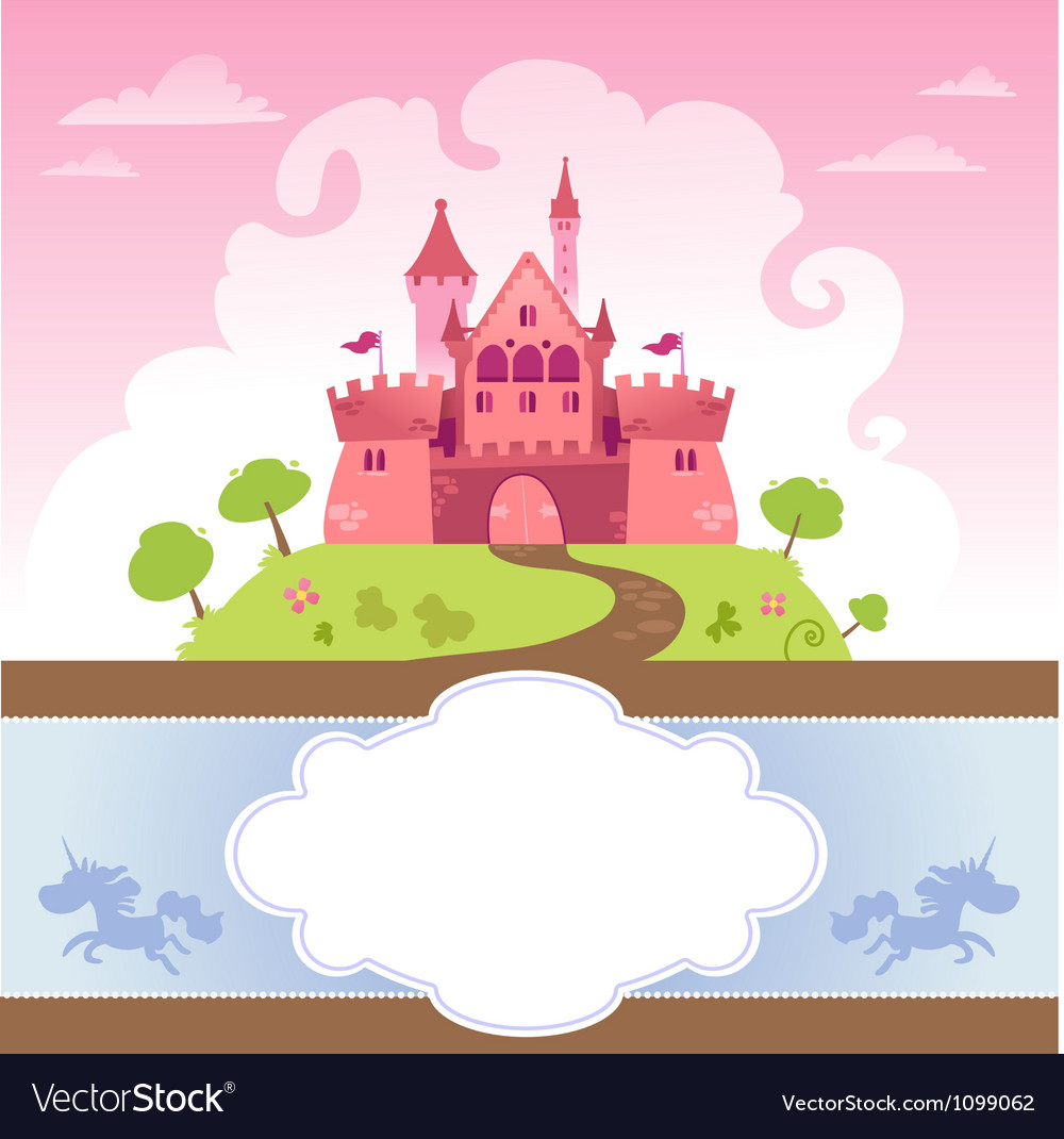 Card With Cartoon Castle vector image