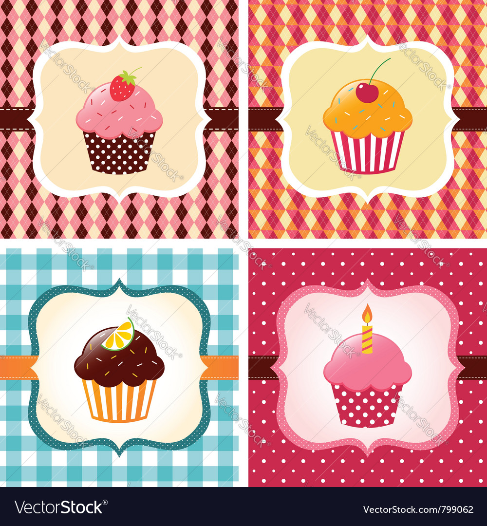 Cupcakes cards vector image