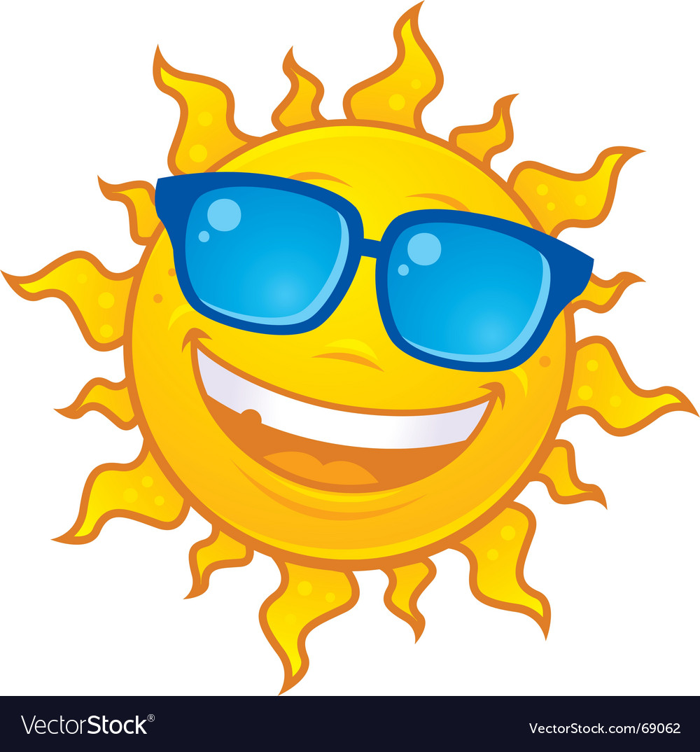 Smiling sun with sunglasses - Sun Wearing Sunglasses Vector Image