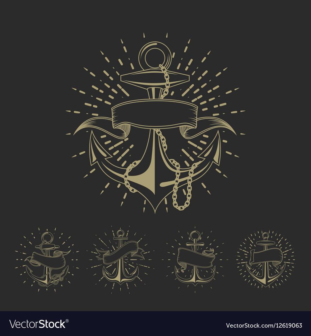 Anchor maritime sailor tattoo set or vintage vector image